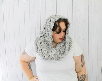 The Cecilia Cowl Scarf, Extra Chunky Crochet Hooded Cowl, Crochet Cowl, Hooded Cowl in Gray Marble, Wool Blend