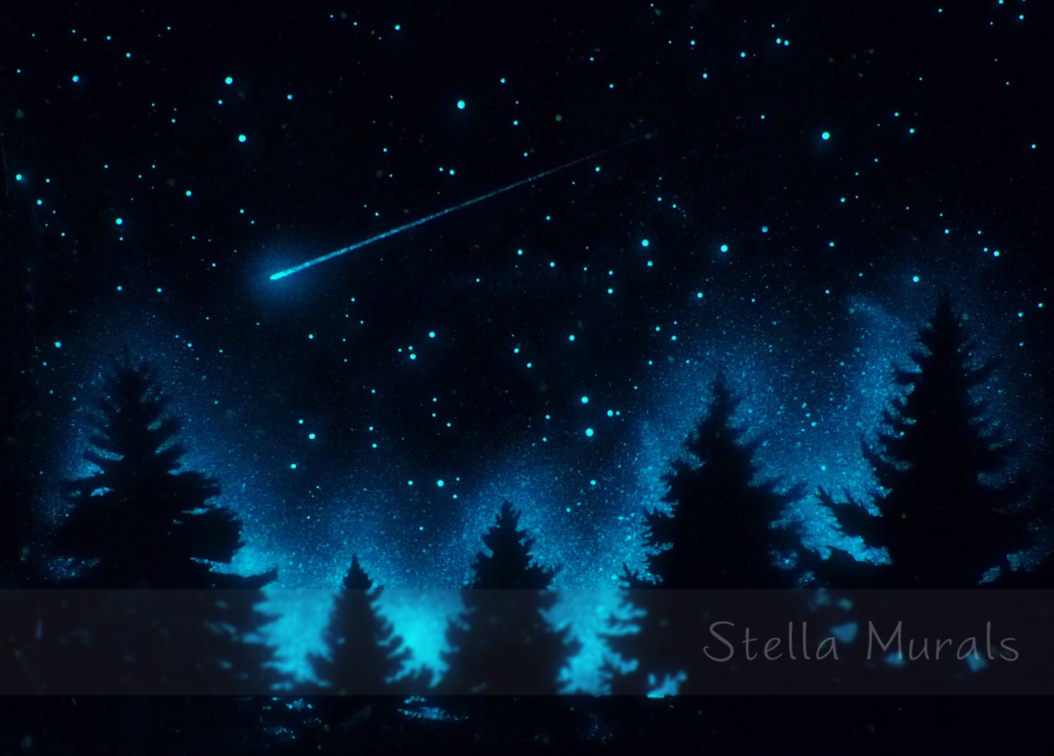 glow in the dark star poster shooting star by stellamurals