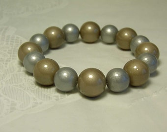 "Cynthia Lynn ""CHIC CHICK"" Brushed Gold & Silver Opaque Coated Pearl Stretch Bracelet"