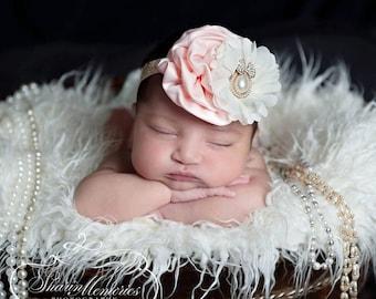 Peach Headband/Flower Girl Headband/Baby Headband/Infant Headband/Newborn Headband/Toddler Headband/Girls Headband/Girls Headband