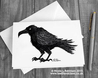 Crow Card, Raven Greeting Card, Gothic Note Card, Happy Halloween, Bird Card, Blank Card, Birthday Card, Edgar Allan Poe