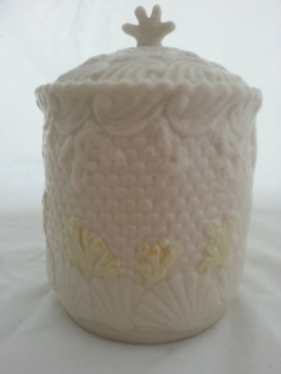 Belleek Biscuit Jar Irish Porcelain Ocean Theme Shells Coral