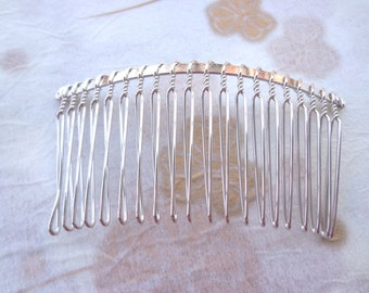 SALE--20 Pcs 36mmx75mm (20teeth) plated Silver Hair Combs