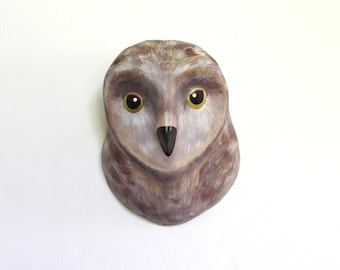 Dark Owl from woodland, Faux Taxidermy owl mask