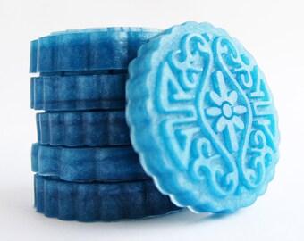 Medallion Soap, Blue Soap Set, Glycerin Soap, Melt and Pour Soap, Novelty Gift Soap, Guest Soap, Decorative Soap, Palm Free Soap, Vegan Soap