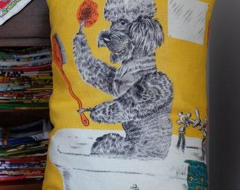 Vintage Bath Time Poodle Tea Towel Cushion