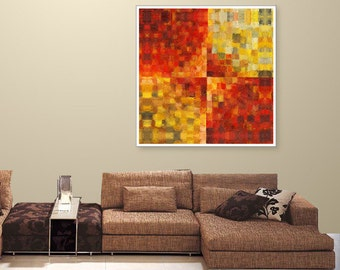 Contemporary, Red Art, Red and Yellow Abstract, Red Painting, Giclee on Canvas, Title: Square Biz
