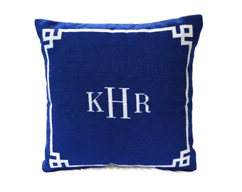 Monogrammed Needlepoint Pillow by Asher Riley