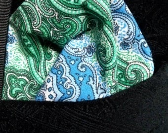 Paisley Blue and Green Pocket Square for Men or Women perfect for Weddings Special Occasions or Gifts