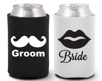 Bride and Groom Can Coolers (BG1000) Mustache and Lips - Bride and Groom Gift - Couple Gift - Bride and Groom Coolies