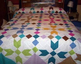 stunning stars - flower patchwork quilt top