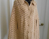 Vintage 1970 Crocheted Poncho, Buff, Handmade