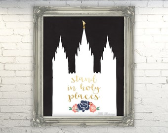Stand in Holy Places- Instant Download, LDS Art Printable, Young Women's Art, Relief Society Print, Salt Lake City Temple Print, SLC Temple