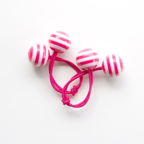 HOT PINK Hair ties. Elastic hair ties. Funky. Magenta / Fuchsia and White stripes. Retro style hair bobbles.
