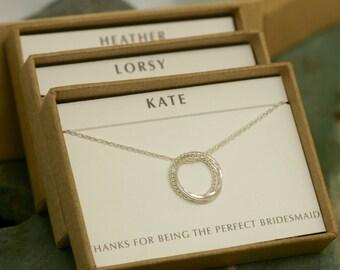 Set of 3 bridesmaid necklaces, 3 best friend necklaces, 3 sister necklaces, 3 year anniversary, bridesmaid jewelry - Lilia