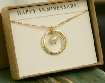 2nd anniversary gift, 2 sister necklace, engagement gift, 2 best friend jewelry, 2 interlocking circles necklace - Lilia