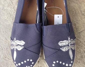 Hand painted dragonfly canvas slip on shoes