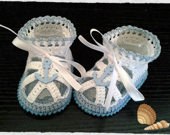 Crochet baby boys summer sandals,Crochet blue and white sandals with nautical decor. Baby Shower Gift. Choose size.