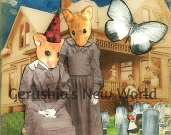 The Good Mourning Mice  -  Collage, Mixed Media, Anthropomorphic, Mice,  Animal Art, Print