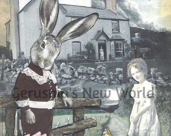 The Beckoning of Leopold and Octavia -  Collage, Mixed Media, Anthropomorphic, Rabbit, Fairy Tale Art, Print