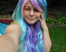 Pastel Rainbow Wig, multicolor wig, light purple, aqua, mint, pink, blue, purple Wig, Long Curly, pastel, Long, curly, celestia wig, pastel