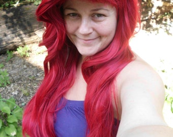Ariel Wig, Princess Wig, long red wig, mermaid wig, cosplay wig, adjustable, bangs, bright red, styled, heat safe, straight, ariel costume