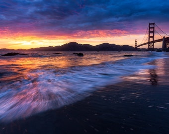 San Francisco Photograph - Golden Gate Bridge Print Art - Romantic San Francisco Photo - Beautiful Sunset Picture - Red, Yellow, Pink, Blue