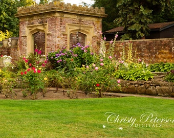 Castle Flower Garden Digital Background for Whimsical, Princess and Knight Photography Sessions