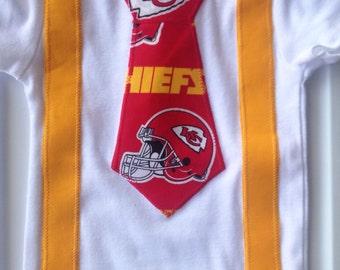 Kansas city baby etsy kansas city cheifs onesie with tie suspenders football birthday baby shower gift negle Choice Image