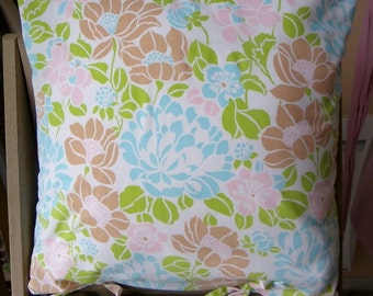 """pillow,case,cover,cushion,flowers,turquoise,pink,green,brown,vintage,80's,french,16""""x16"""""""