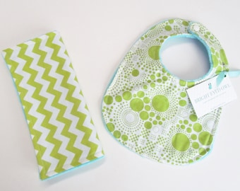 Bib and Burp Cloth Set, Lime Green Chevron and Dot, Soft Turquoise Minky Dot, Snap Closure