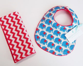 Bib and Burp Cloth Set, Red and Blue Elephants, Soft Red Minky Dot, Snap Closure