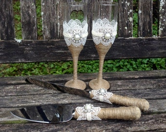 Vintage Rustic Chic Cake Serving Set and Toasting Flutes / Rustic Chic Cake Knife Set / Rustic Princess Wedding Champaign Glasses