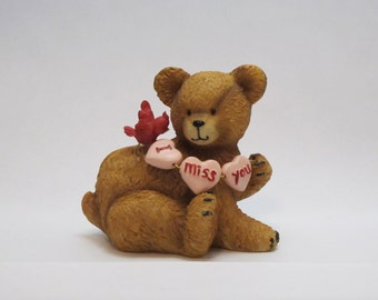Vintage 1990s Adorable I Miss You Hearts Teddy Bear Figurine Unsigned Great Gift for that Special Someone Far Away