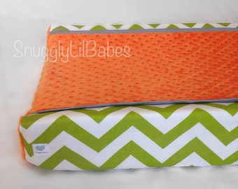 Lime, grey, orange minky dot changing pad cover