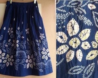 80s Indigo Tie Dyed Skirt - Shibori Indigo Cotton Skirt - Vintage Midi Skirt - Small