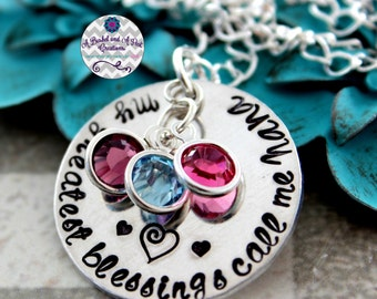 Custom My greatest blessings call me Mom/Mommy/Nana/Grandma/Mimi/Grams hand stamped birthstone necklace