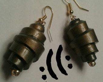 Hunter green polymer clay earrings.