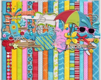 Beat The Heat Kit for Digital Scrapbooking - Papers & Elements