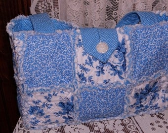 Blue and White Roses, Vines, Rag Quilt Tote, Purse or Diaper Bag, New, Hm