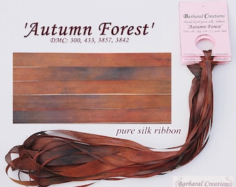 Hand dyed 4 mm wide pure silk ribbon - 'Autumn Forest'