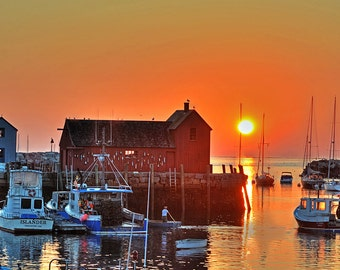 The Sun rises on Motif Number 1 Rockport MA, Nautical decor, nautical art, nautical print, nautical photography, ocean decor, motif #1