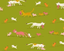 One yard - 1 yard - Marching Cats in Green - TIGER LILY by Heather Ross for Windham Fabrics