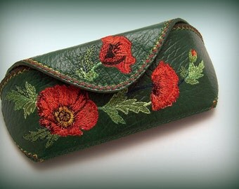 "Leather Glasses Case  Sunglasses Holder Cover ""Poppies"""