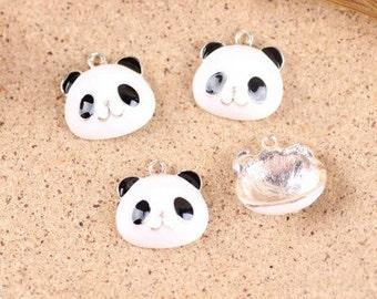 10 pcs of antique gold panda charm pendants 18x18mm