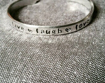 Stamped cuff bracelet - with your own text/quote/phrase *6mm A