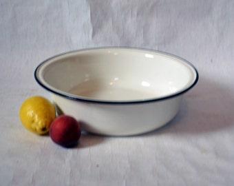 Vintage Soviet big Enamel Bowl - Made in USSR- soviet - Shabby Chic- Decorated - Kitchen Decor