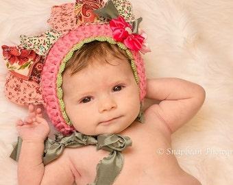Flower Bonnet, Flower Hat, Spring Flower Hat, Pink Baby Bonnet, Photography Prop, Pink Flower, Easter, Photo Prop, Easter Bonnet, Blanket