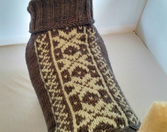 Custom made dog sweater hand knit in a snowflake pattern