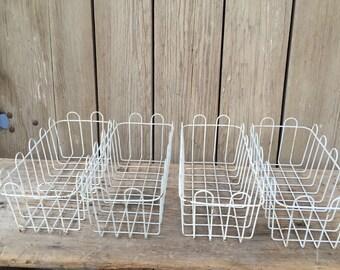 vintage wire basket, 4 white wire baskets